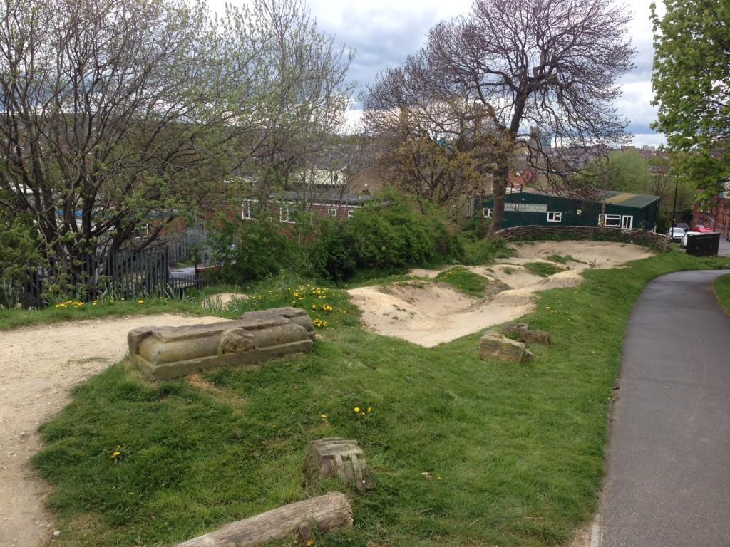 Mountain bike track at Heeley Park, Sheffield